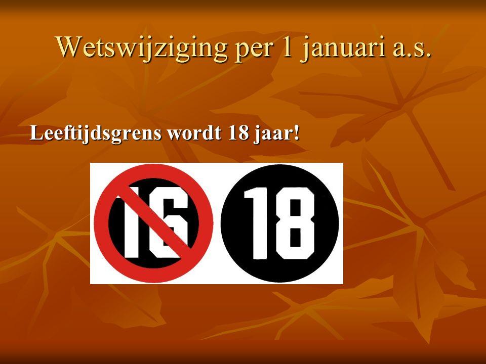 Wetswijziging per 1 januari a.s. Leeftijdsgrens wordt 18 jaar!