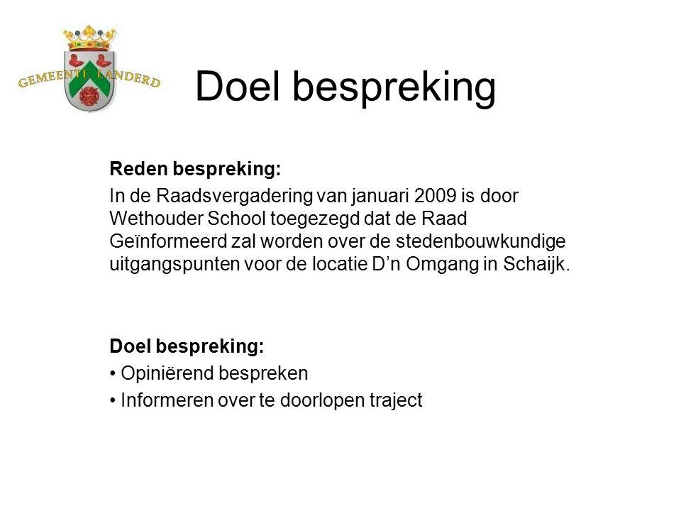 Doel bespreking Reden bespreking: In de Raadsvergadering van januari 2009 is door Wethouder School toegezegd dat de Raad Geïnformeerd zal worden over de stedenbouwkundige uitgangspunten voor de locatie D'n Omgang in Schaijk.