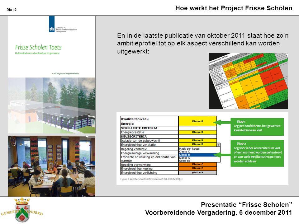 Dia 13 Presentatie Frisse Scholen Voorbereidende Vergadering, 6 december 2011 Hoe werkt het Project Frisse Scholen Er wordt duidelijk omschreven dat er altijd keuzen gemaakt zullen moeten worden: tussen verschillende ambities onderling, en de financiële mogelijkheden.