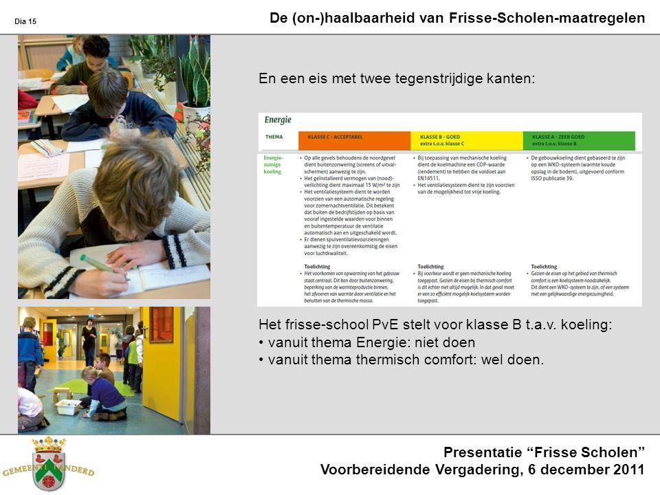 Dia 15 Presentatie Frisse Scholen Voorbereidende Vergadering, 6 december 2011 En een eis met twee tegenstrijdige kanten: Het frisse-school PvE stelt voor klasse B t.a.v.
