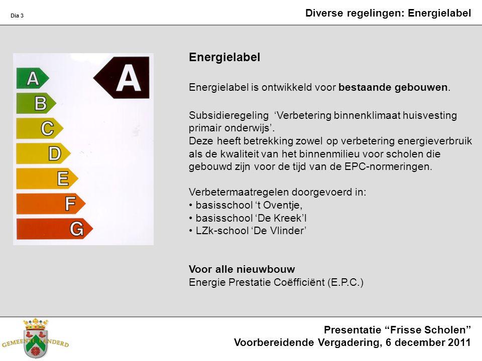Dia 3 Presentatie Frisse Scholen Voorbereidende Vergadering, 6 december 2011 Diverse regelingen: Energielabel Energielabel Energielabel is ontwikkeld voor bestaande gebouwen.