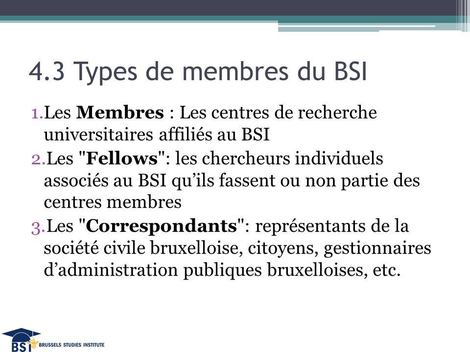 4.3 Types de membres du BSI 1.Les Membres : Les centres de recherche universitaires affiliés au BSI 2.Les Fellows : les chercheurs individuels associés au BSI qu'ils fassent ou non partie des centres membres 3.Les Correspondants : représentants de la société civile bruxelloise, citoyens, gestionnaires d'administration publiques bruxelloises, etc.