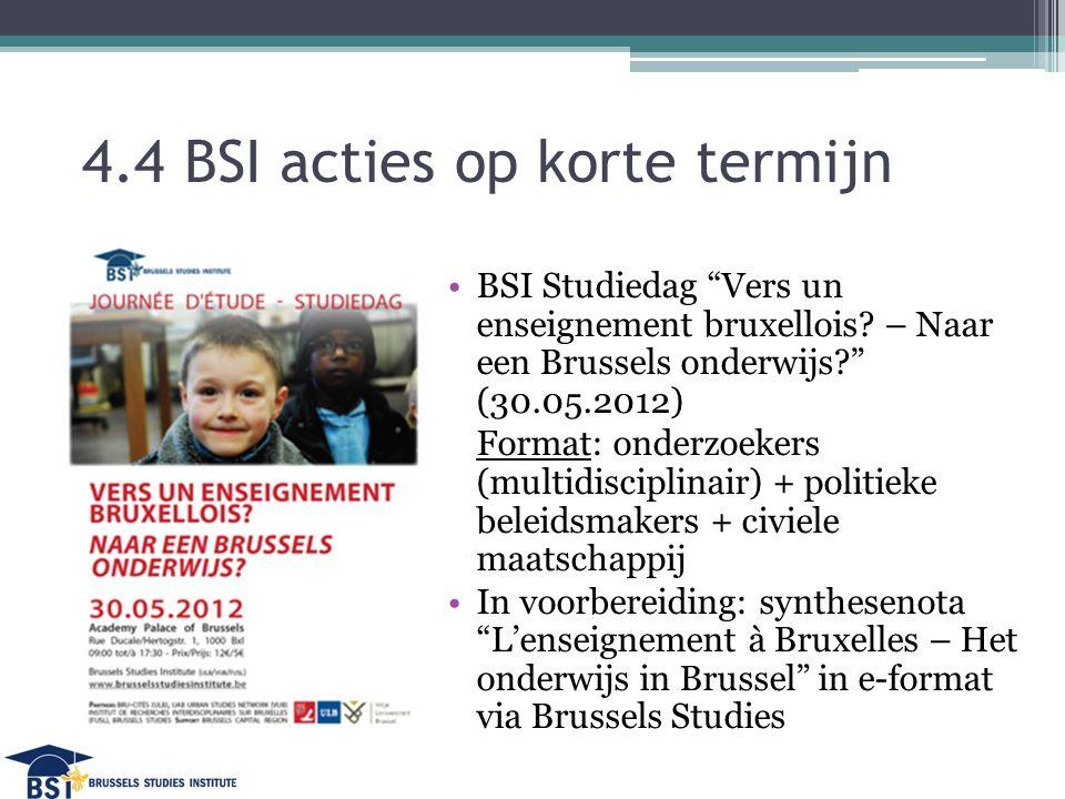 4.4 BSI acties op korte termijn BSI Studiedag Vers un enseignement bruxellois.