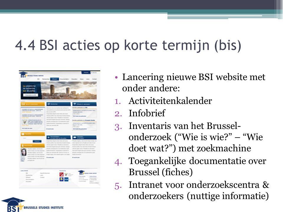 4.4 BSI acties op korte termijn (bis) Lancering nieuwe BSI website met onder andere: 1.Activiteitenkalender 2.Infobrief 3.Inventaris van het Brussel- onderzoek ( Wie is wie – Wie doet wat ) met zoekmachine 4.Toegankelijke documentatie over Brussel (fiches) 5.Intranet voor onderzoekscentra & onderzoekers (nuttige informatie)