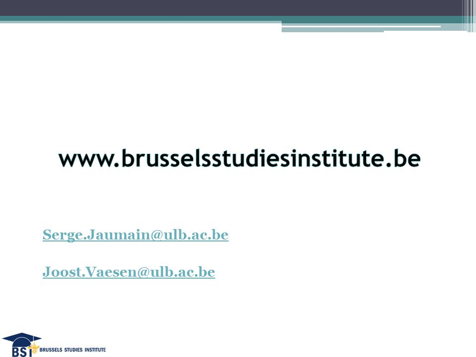 Serge.Jaumain@ulb.ac.be Joost.Vaesen@ulb.ac.be