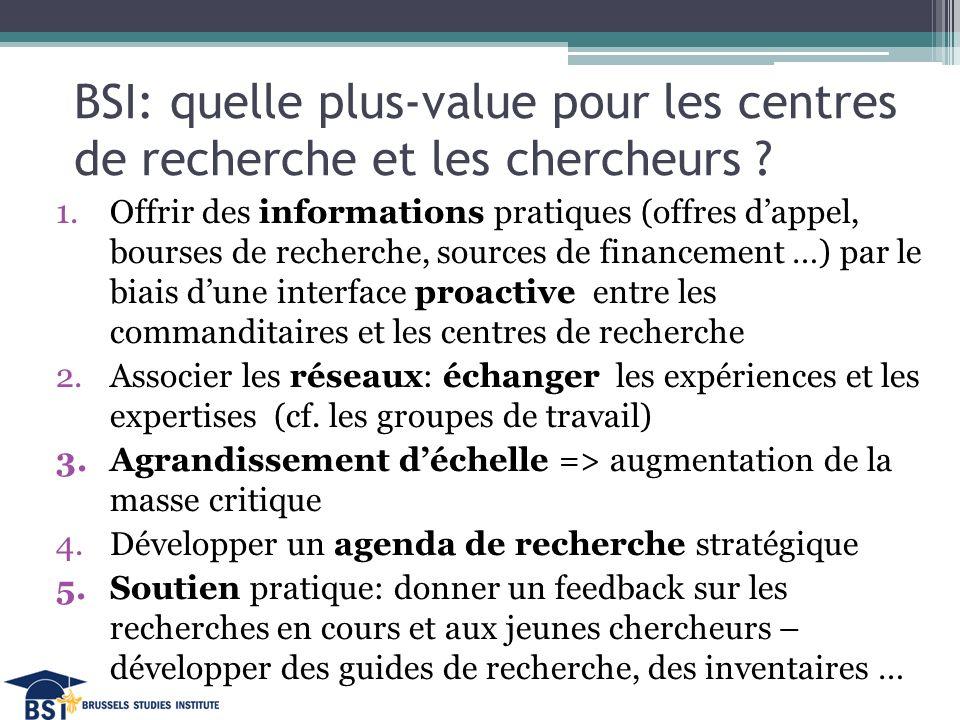 BSI: quelle plus-value pour les centres de recherche et les chercheurs .