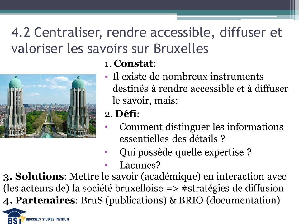 4.2 Centraliser, rendre accessible, diffuser et valoriser les savoirs sur Bruxelles 1.