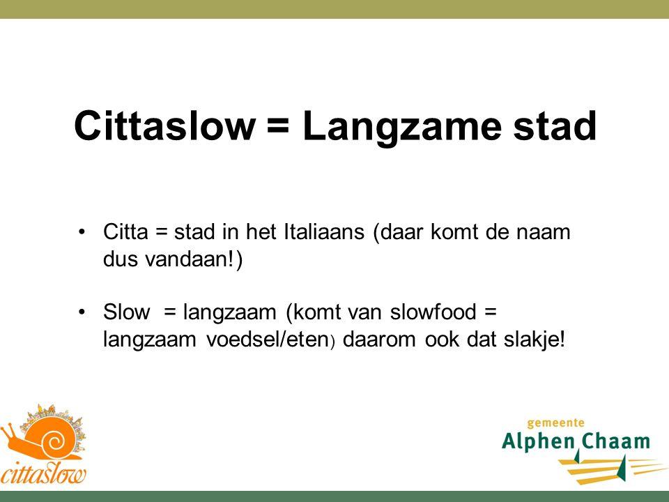 Cittaslow = Langzame stad Citta = stad in het Italiaans (daar komt de naam dus vandaan!) Slow = langzaam (komt van slowfood = langzaam voedsel/eten ) daarom ook dat slakje!