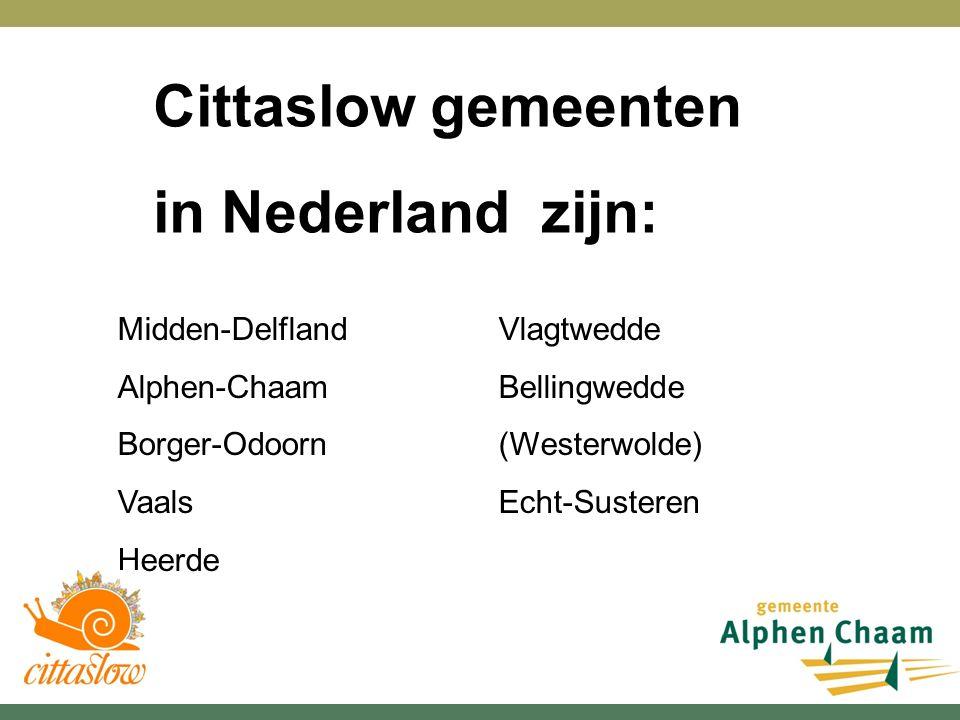 Midden-Delfland Alphen-Chaam Borger-Odoorn Vaals Heerde Vlagtwedde Bellingwedde (Westerwolde) Echt-Susteren Cittaslow gemeenten in Nederland zijn: