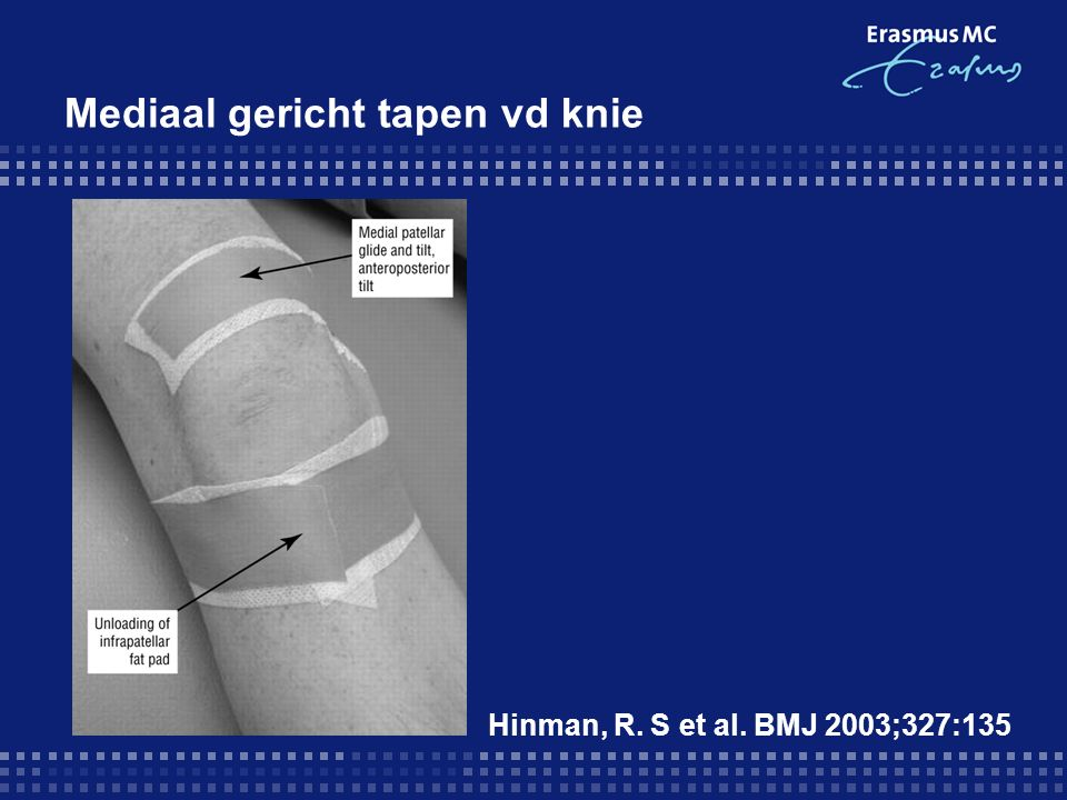 Mediaal gericht tapen vd knie Hinman, R. S et al. BMJ 2003;327:135