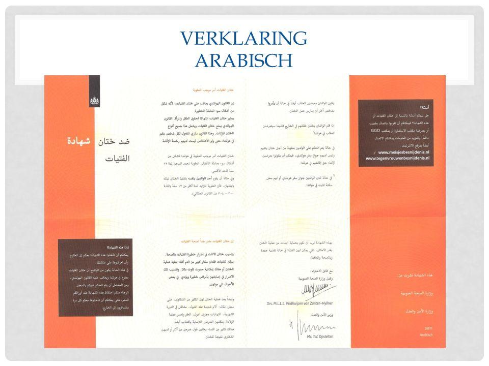 VERKLARING ARABISCH