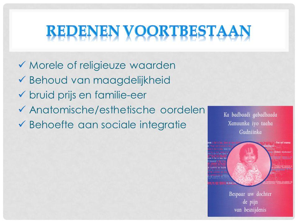 Morele of religieuze waarden Behoud van maagdelijkheid bruid prijs en familie-eer Anatomische/esthetische oordelen Behoefte aan sociale integratie