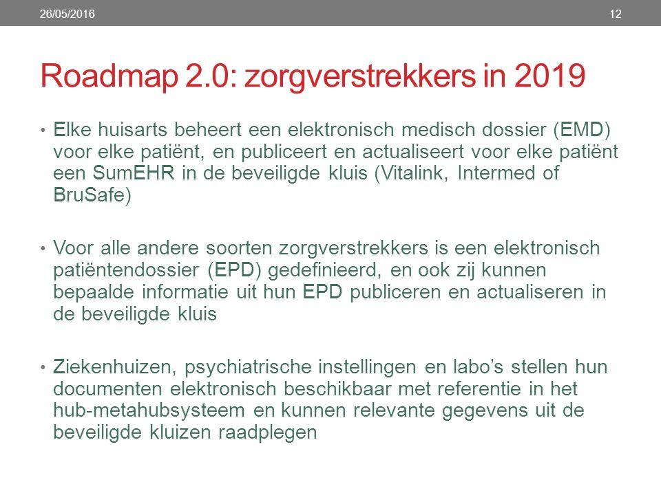 Roadmap 2.0: zorgverstrekkers in 2019 Elke huisarts beheert een elektronisch medisch dossier (EMD) voor elke patiënt, en publiceert en actualiseert voor elke patiënt een SumEHR in de beveiligde kluis (Vitalink, Intermed of BruSafe) Voor alle andere soorten zorgverstrekkers is een elektronisch patiëntendossier (EPD) gedefinieerd, en ook zij kunnen bepaalde informatie uit hun EPD publiceren en actualiseren in de beveiligde kluis Ziekenhuizen, psychiatrische instellingen en labo's stellen hun documenten elektronisch beschikbaar met referentie in het hub-metahubsysteem en kunnen relevante gegevens uit de beveiligde kluizen raadplegen 26/05/201612