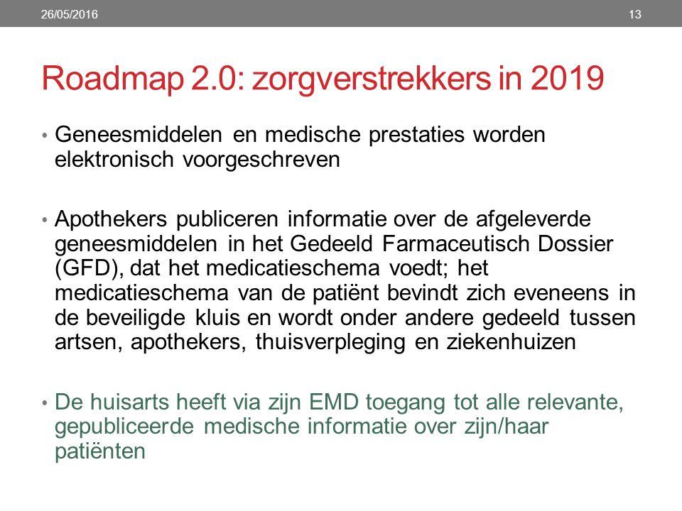 Roadmap 2.0: zorgverstrekkers in 2019 Geneesmiddelen en medische prestaties worden elektronisch voorgeschreven Apothekers publiceren informatie over de afgeleverde geneesmiddelen in het Gedeeld Farmaceutisch Dossier (GFD), dat het medicatieschema voedt; het medicatieschema van de patiënt bevindt zich eveneens in de beveiligde kluis en wordt onder andere gedeeld tussen artsen, apothekers, thuisverpleging en ziekenhuizen De huisarts heeft via zijn EMD toegang tot alle relevante, gepubliceerde medische informatie over zijn/haar patiënten 26/05/201613