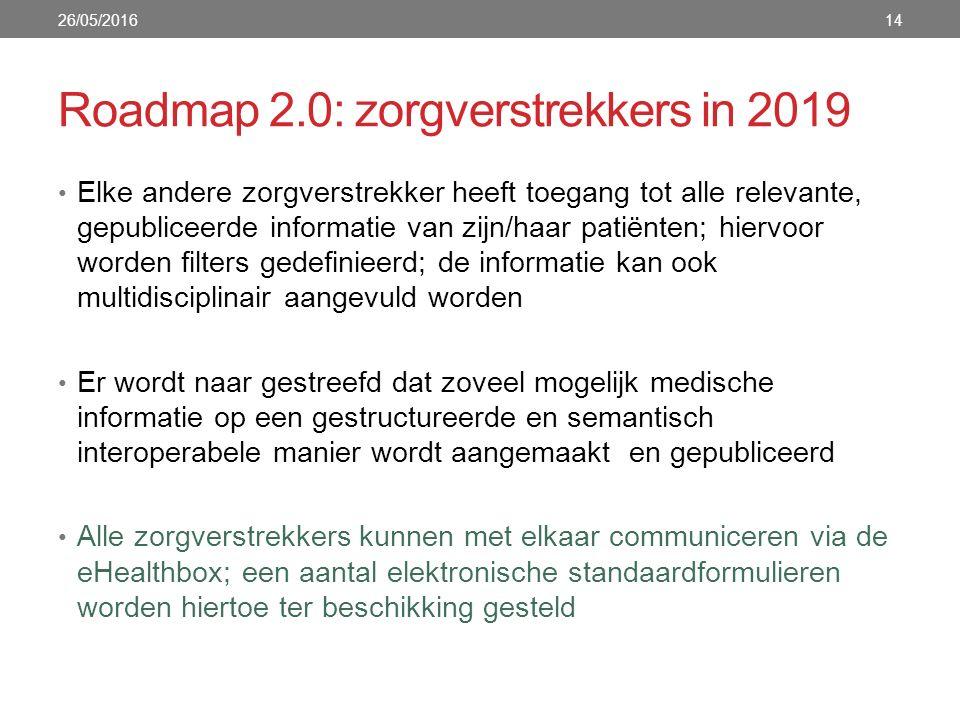 Roadmap 2.0: zorgverstrekkers in 2019 Elke andere zorgverstrekker heeft toegang tot alle relevante, gepubliceerde informatie van zijn/haar patiënten; hiervoor worden filters gedefinieerd; de informatie kan ook multidisciplinair aangevuld worden Er wordt naar gestreefd dat zoveel mogelijk medische informatie op een gestructureerde en semantisch interoperabele manier wordt aangemaakt en gepubliceerd Alle zorgverstrekkers kunnen met elkaar communiceren via de eHealthbox; een aantal elektronische standaardformulieren worden hiertoe ter beschikking gesteld 26/05/201614