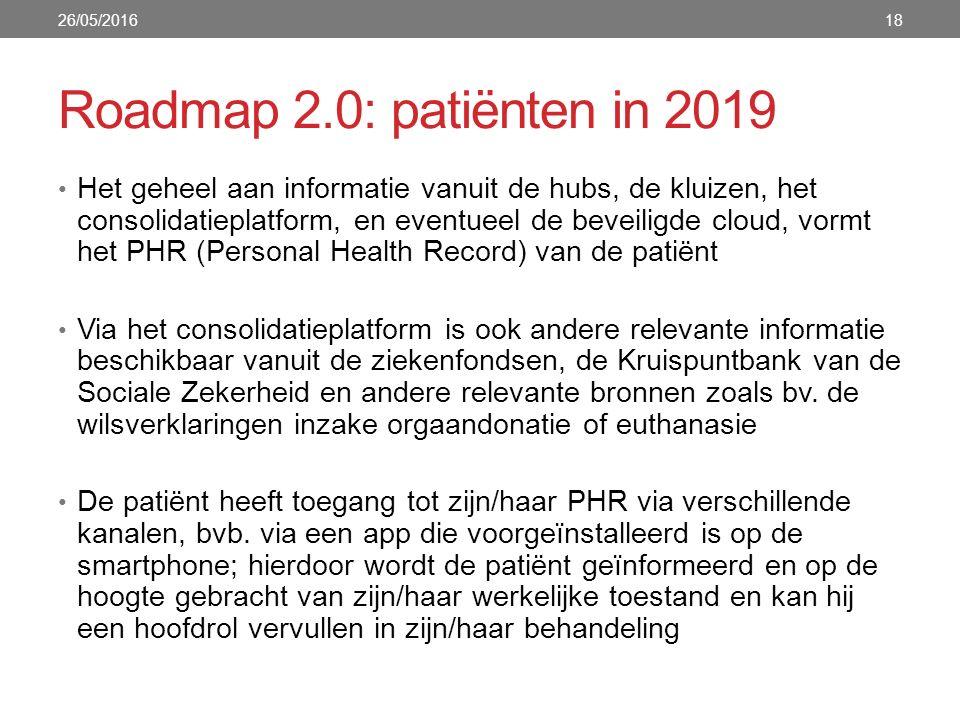 Roadmap 2.0: patiënten in 2019 Het geheel aan informatie vanuit de hubs, de kluizen, het consolidatieplatform, en eventueel de beveiligde cloud, vormt het PHR (Personal Health Record) van de patiënt Via het consolidatieplatform is ook andere relevante informatie beschikbaar vanuit de ziekenfondsen, de Kruispuntbank van de Sociale Zekerheid en andere relevante bronnen zoals bv.