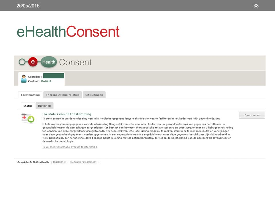 eHealthConsent 26/05/201638
