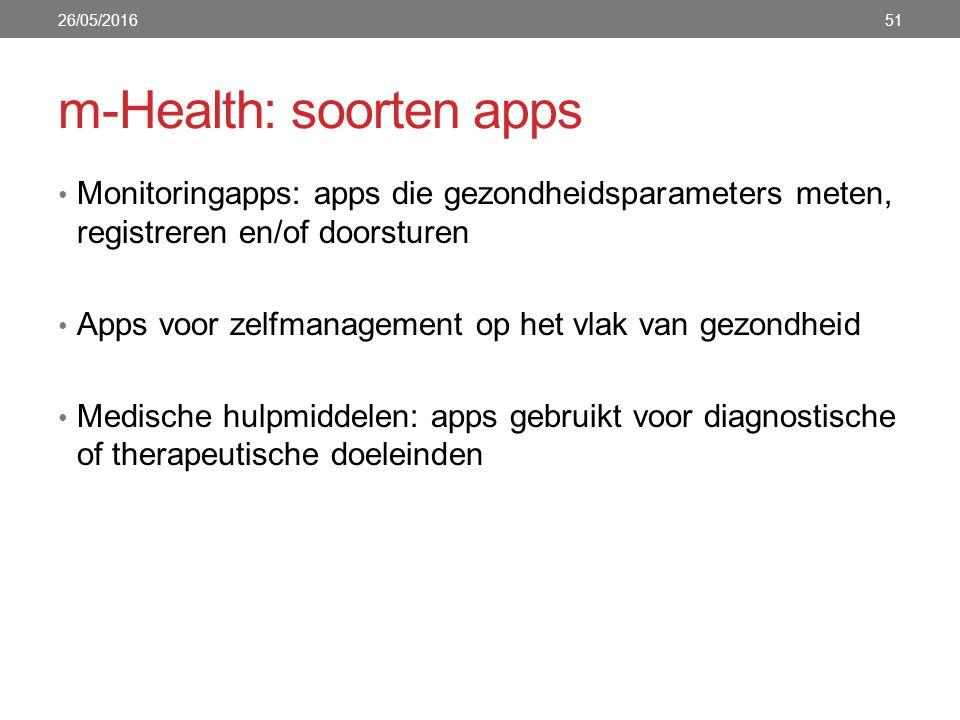 m-Health: soorten apps Monitoringapps: apps die gezondheidsparameters meten, registreren en/of doorsturen Apps voor zelfmanagement op het vlak van gezondheid Medische hulpmiddelen: apps gebruikt voor diagnostische of therapeutische doeleinden 5126/05/2016