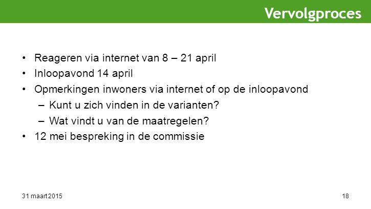 31 maart 201518 Reageren via internet van 8 – 21 april Inloopavond 14 april Opmerkingen inwoners via internet of op de inloopavond –Kunt u zich vinden in de varianten.