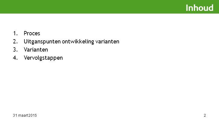 31 maart 20152 1.Proces 2.Uitganspunten ontwikkeling varianten 3.Varianten 4.Vervolgstappen Inhoud