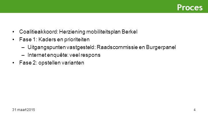 31 maart 20154 Coalitieakkoord: Herziening mobiliteitsplan Berkel Fase 1: Kaders en prioriteiten –Uitgangspunten vastgesteld: Raadscommissie en Burgerpanel –Internet enquête: veel respons Fase 2: opstellen varianten Proces