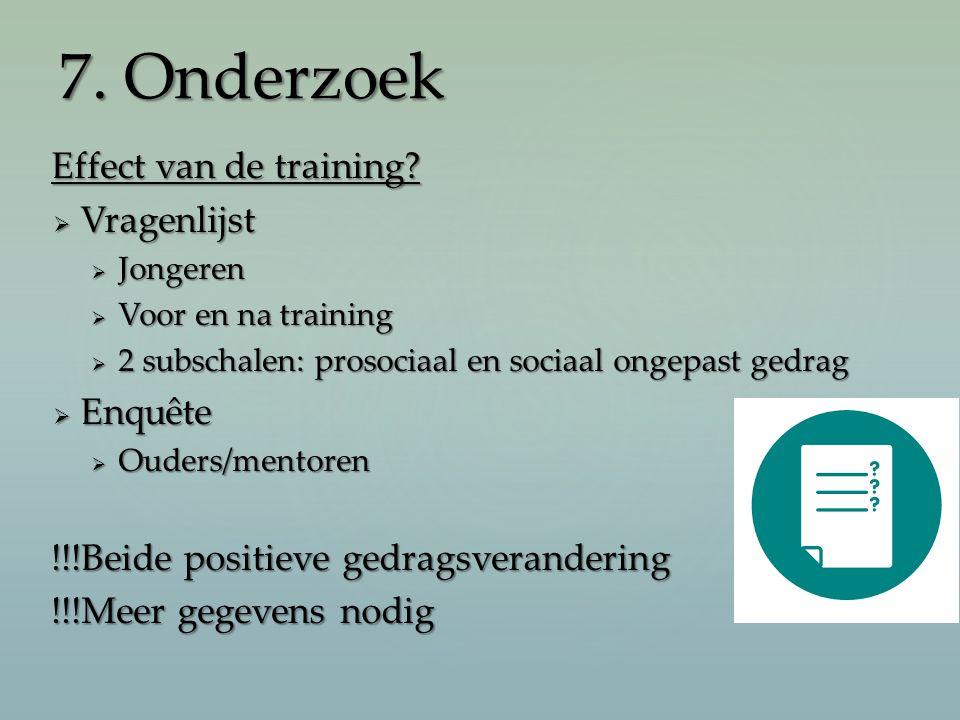 Effect van de training?  Vragenlijst  Jongeren  Voor en na training  2 subschalen: prosociaal en sociaal ongepast gedrag  Enquête  Ouders/mentor