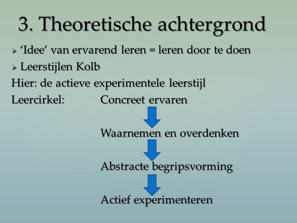  'Idee' van ervarend leren = leren door te doen  Leerstijlen Kolb Hier: de actieve experimentele leerstijl Leercirkel:Concreet ervaren Waarnemen en