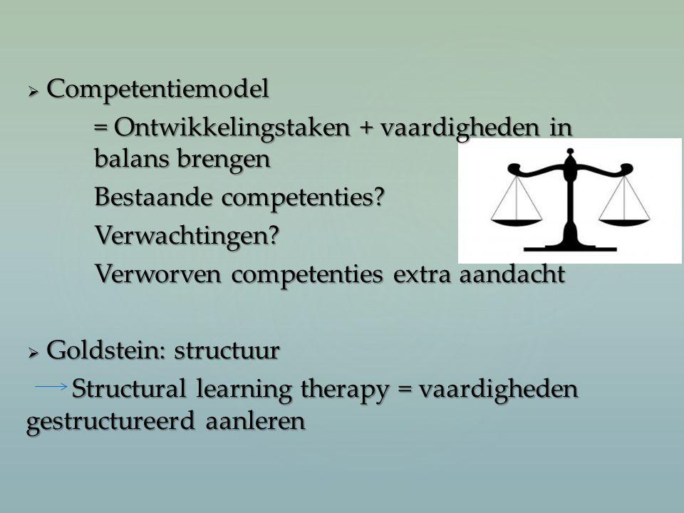  Competentiemodel = Ontwikkelingstaken + vaardigheden in balans brengen Bestaande competenties? Verwachtingen? Verworven competenties extra aandacht