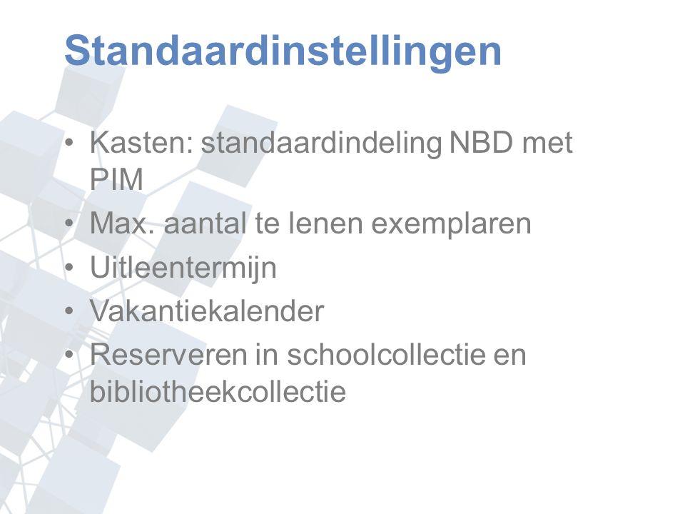 Standaardinstellingen Kasten: standaardindeling NBD met PIM Max.