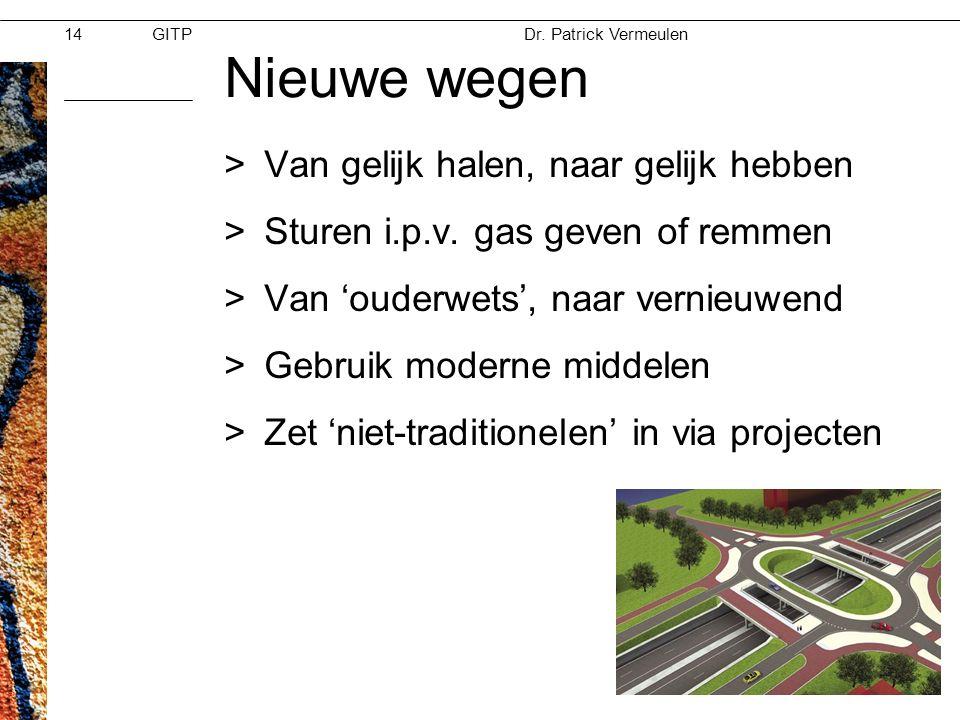 GITPMoed & Vertrouwen Dr. Patrick Vermeulen 28-11-2012 14 Nieuwe wegen >Van gelijk halen, naar gelijk hebben >Sturen i.p.v. gas geven of remmen >Van '