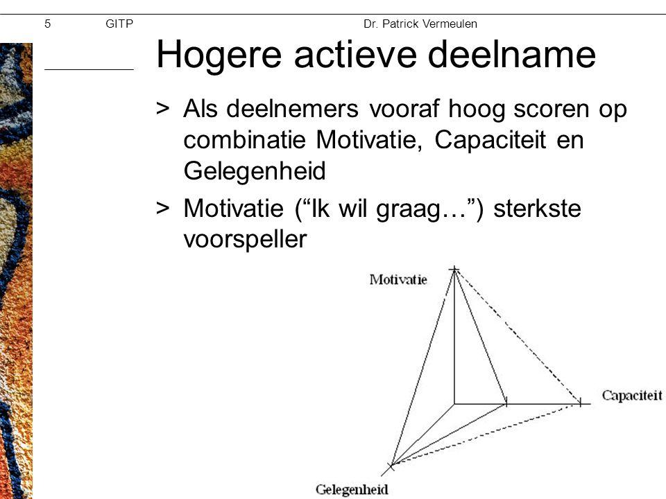 GITPMoed & Vertrouwen Dr. Patrick Vermeulen 28-11-2012 Hogere actieve deelname >Als deelnemers vooraf hoog scoren op combinatie Motivatie, Capaciteit