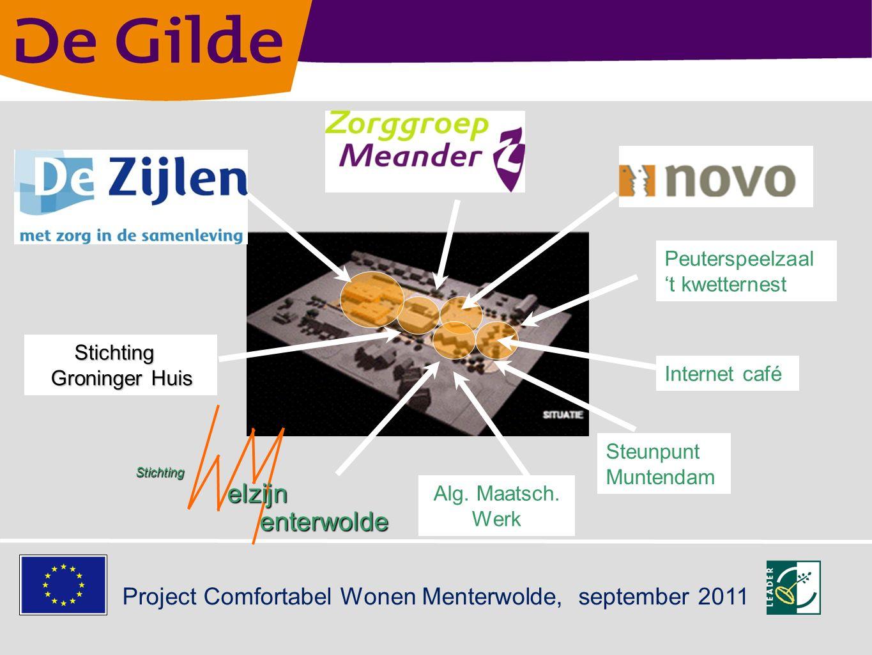 Project Comfortabel Wonen Menterwolde, september 2011 Steunpunt WWZ Muntendam Multifunctioneel wijkcentrum Uitstel van verpleeghuiszorg senioren met zorg Ontmoetingscentrum voor kwetsbare burgers