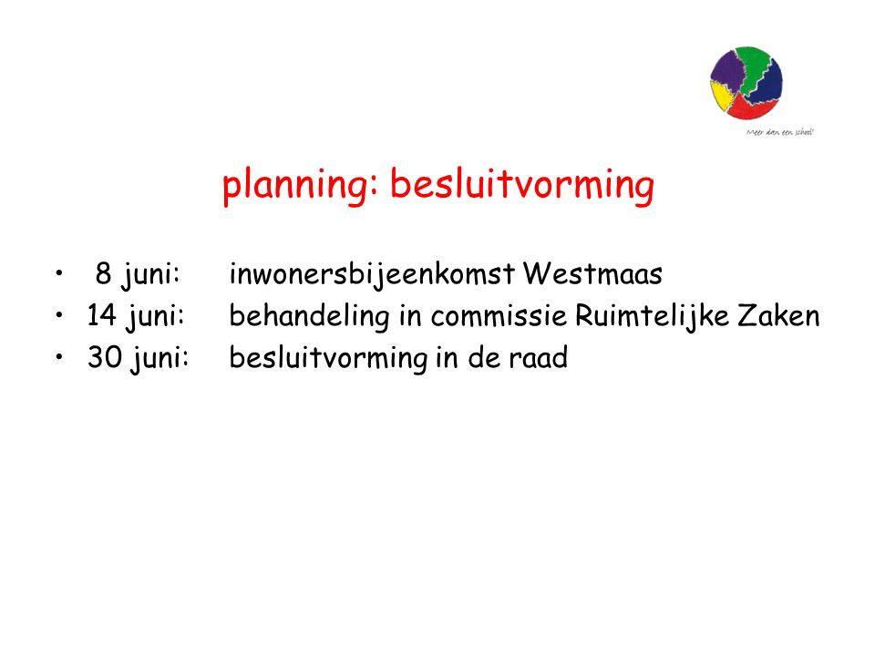 planning: besluitvorming 8 juni: inwonersbijeenkomst Westmaas 14 juni: behandeling in commissie Ruimtelijke Zaken 30 juni: besluitvorming in de raad