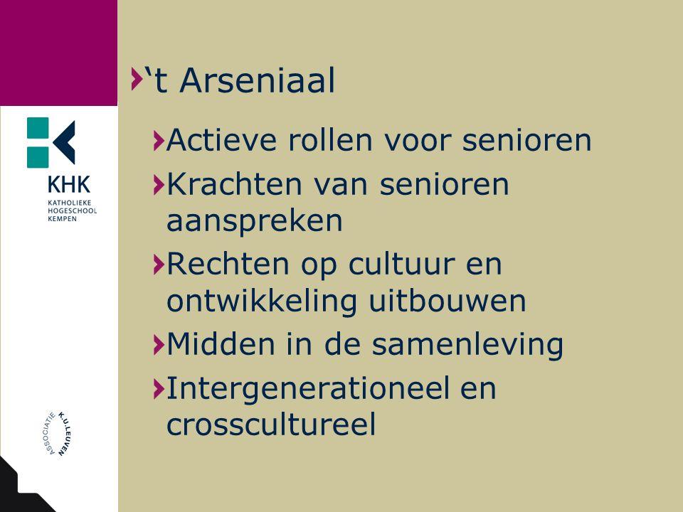 Actieve rollen voor senioren Krachten van senioren aanspreken Rechten op cultuur en ontwikkeling uitbouwen Midden in de samenleving Intergenerationeel en crosscultureel 't Arseniaal
