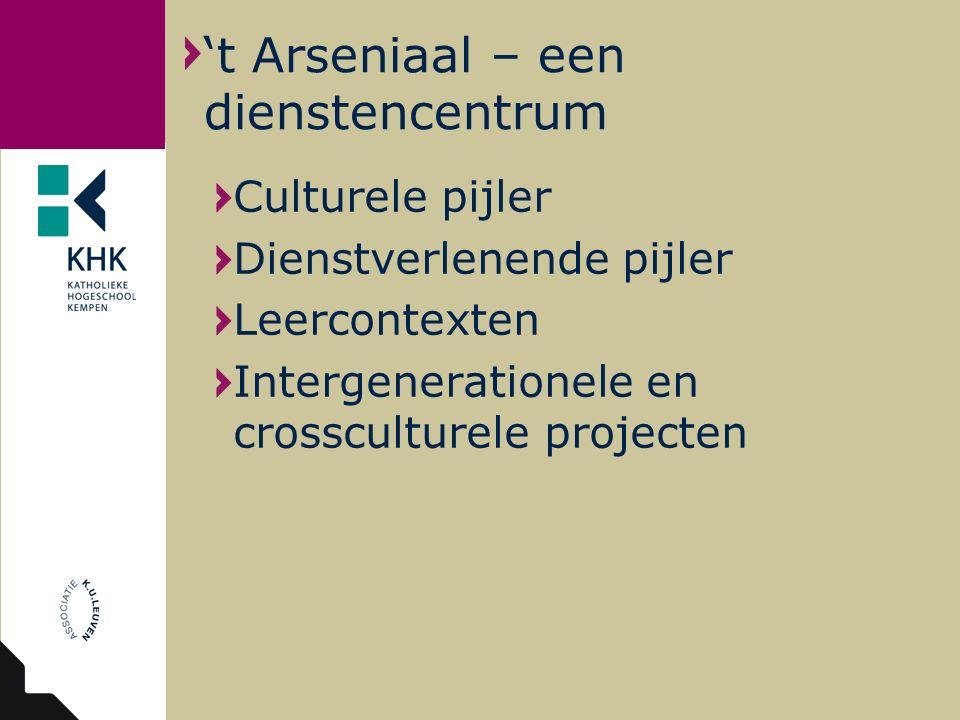Culturele pijler Dienstverlenende pijler Leercontexten Intergenerationele en crossculturele projecten 't Arseniaal – een dienstencentrum