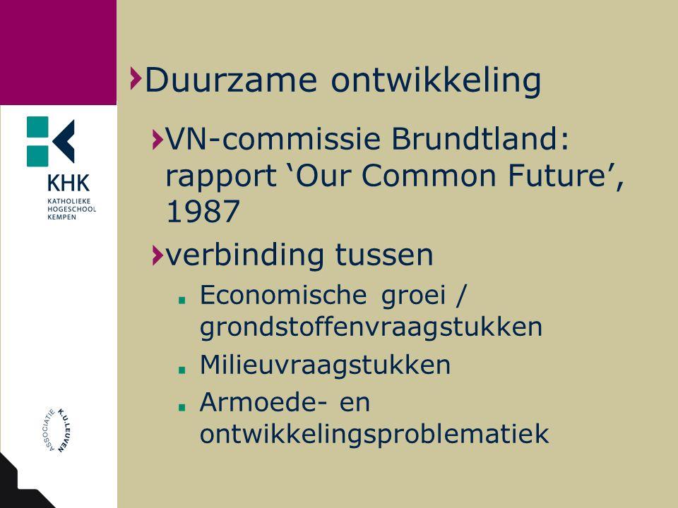 VN-commissie Brundtland: rapport 'Our Common Future', 1987 verbinding tussen Economische groei / grondstoffenvraagstukken Milieuvraagstukken Armoede-