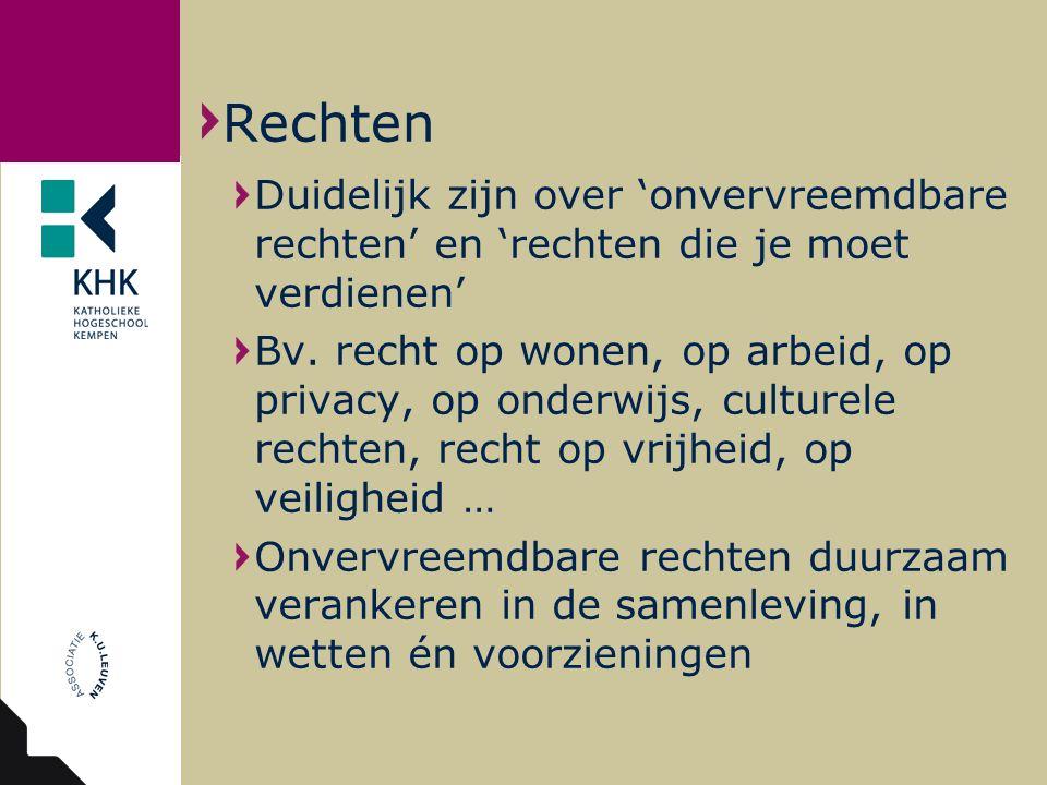 Duidelijk zijn over 'onvervreemdbare rechten' en 'rechten die je moet verdienen' Bv.