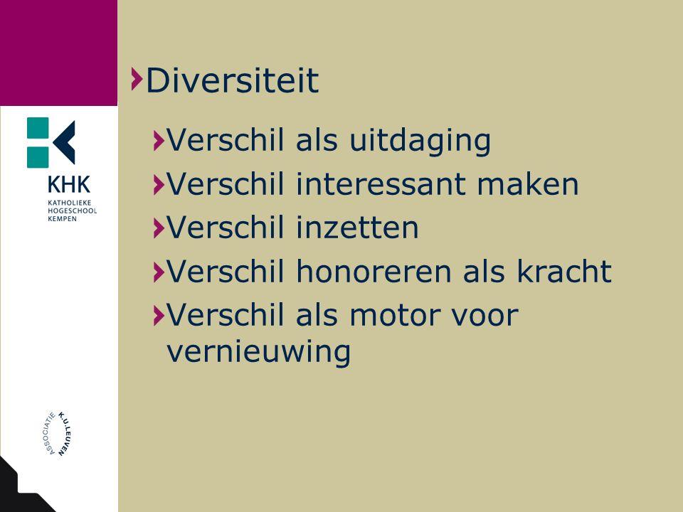 Verschil als uitdaging Verschil interessant maken Verschil inzetten Verschil honoreren als kracht Verschil als motor voor vernieuwing Diversiteit