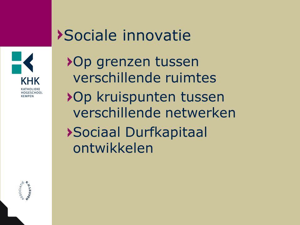 Op grenzen tussen verschillende ruimtes Op kruispunten tussen verschillende netwerken Sociaal Durfkapitaal ontwikkelen Sociale innovatie
