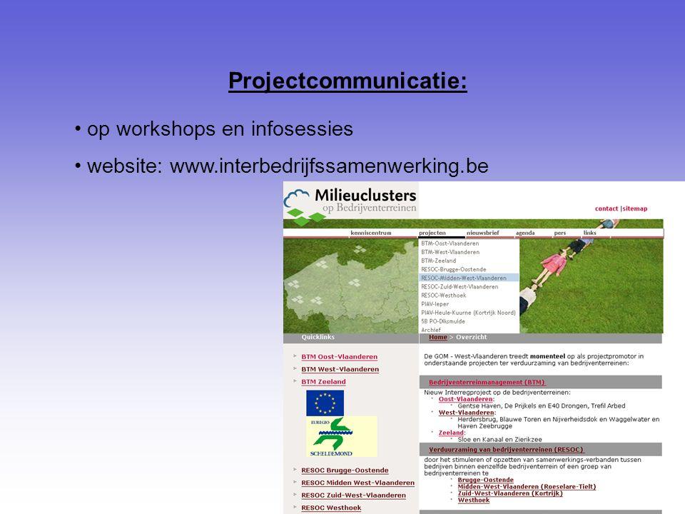 Projectcommunicatie: op workshops en infosessies website: www.interbedrijfssamenwerking.be