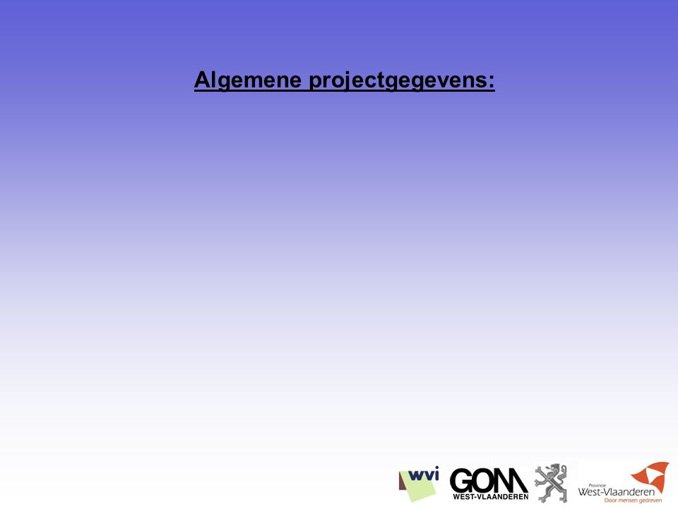 Algemene projectgegevens: