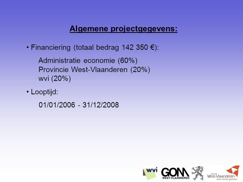 Algemene projectgegevens: Financiering (totaal bedrag 142 350 €): Administratie economie (60%) Provincie West-Vlaanderen (20%) wvi (20%) Looptijd: 01/01/2006 - 31/12/2008