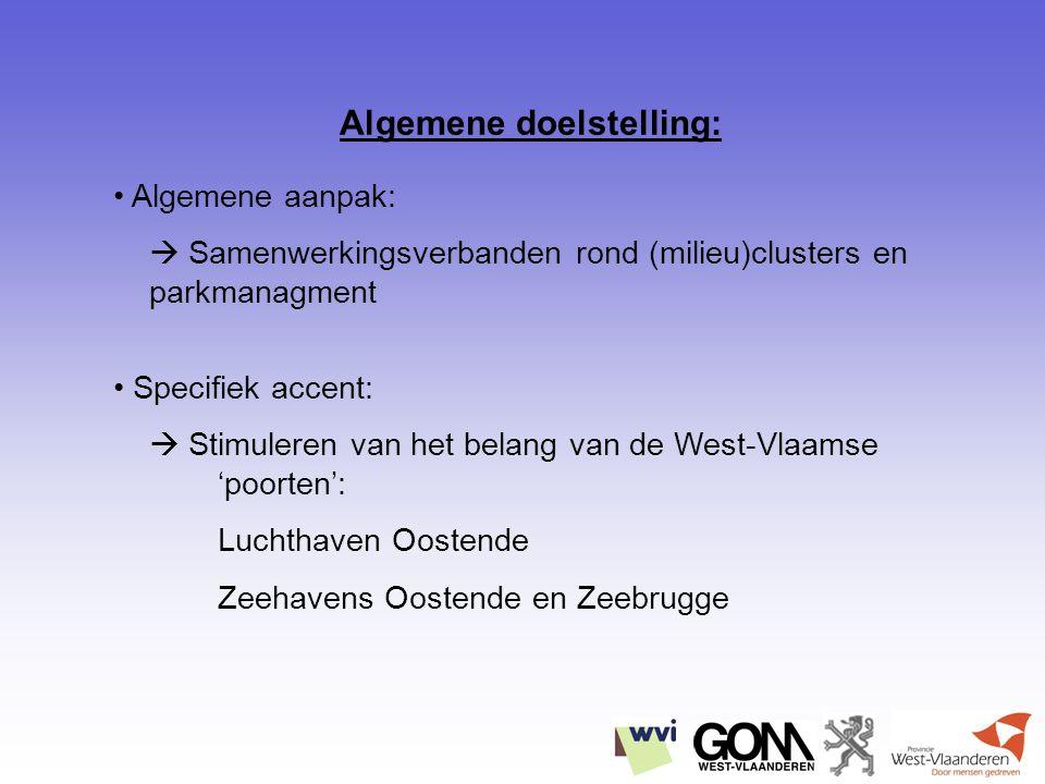 Algemene aanpak:  Samenwerkingsverbanden rond (milieu)clusters en parkmanagment Specifiek accent:  Stimuleren van het belang van de West-Vlaamse 'poorten': Luchthaven Oostende Zeehavens Oostende en Zeebrugge Algemene doelstelling: