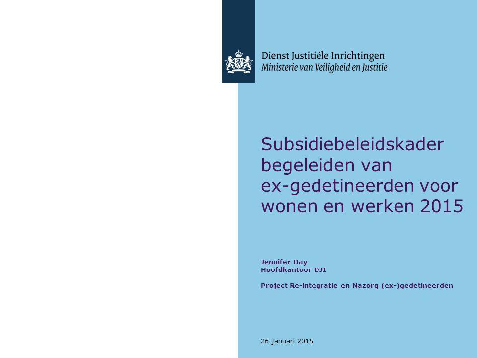 2 Aanleiding Sinds 2014 is, via de Motie Van der Staaij, structureel 2,4 mln beschikbaar voor trajecten voor begeleiding rond wonen en werken voor ex-gedetineerden.