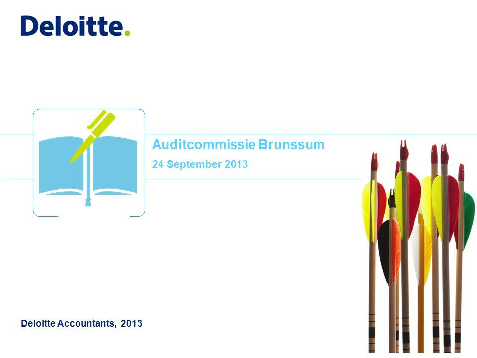 © 2013 Deloitte The Netherlands Inhoud 1 1.In control statement 2.Controleprotocol 3.Advisering rapportering 4.Aanwezigheid Auditcommissie 5.Risicomanagement