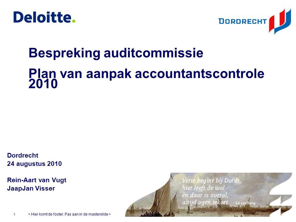©Deloitte © 2009 Deloitte Touche Tohmatsu Bespreking auditcommissie Plan van aanpak accountantscontrole 2010 Dordrecht 24 augustus 2010 Rein-Aart van Vugt JaapJan Visser 1