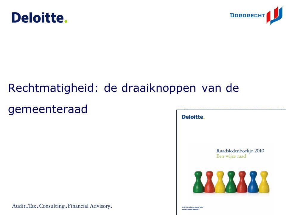 ©Deloitte Rechtmatigheid: de draaiknoppen van de gemeenteraad