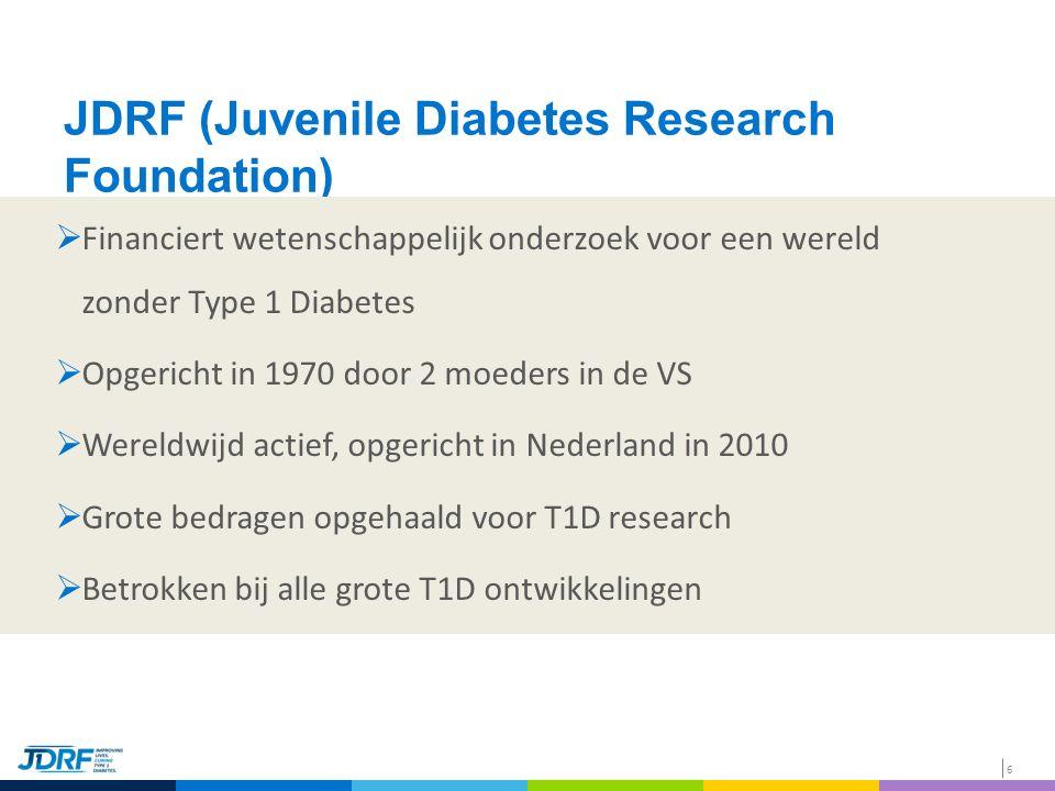 6 JDRF (Juvenile Diabetes Research Foundation)  Financiert wetenschappelijk onderzoek voor een wereld zonder Type 1 Diabetes  Opgericht in 1970 door 2 moeders in de VS  Wereldwijd actief, opgericht in Nederland in 2010  Grote bedragen opgehaald voor T1D research  Betrokken bij alle grote T1D ontwikkelingen