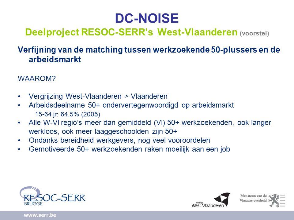 DC-NOISE Deelproject RESOC-SERR's West-Vlaanderen (voorstel) Verfijning van de matching tussen werkzoekende 50-plussers en de arbeidsmarkt WAAROM.