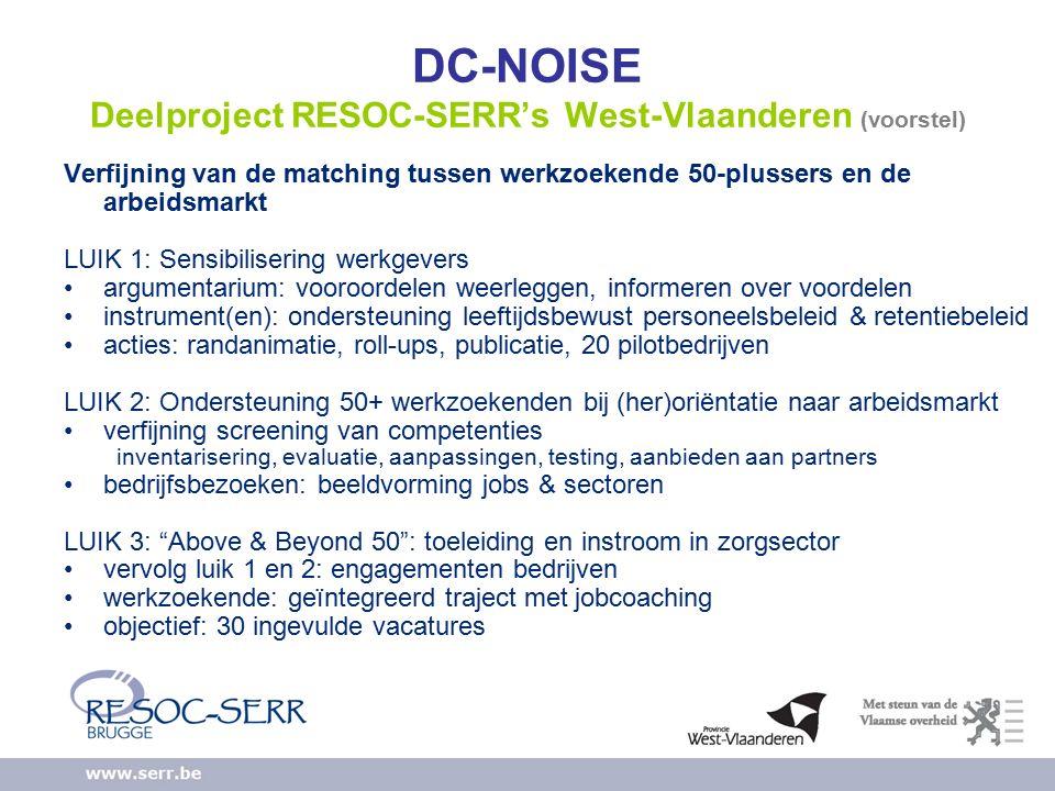 DC-NOISE Deelproject RESOC-SERR's West-Vlaanderen (voorstel) Verfijning van de matching tussen werkzoekende 50-plussers en de arbeidsmarkt LUIK 1: Sensibilisering werkgevers argumentarium: vooroordelen weerleggen, informeren over voordelen instrument(en): ondersteuning leeftijdsbewust personeelsbeleid & retentiebeleid acties: randanimatie, roll-ups, publicatie, 20 pilotbedrijven LUIK 2: Ondersteuning 50+ werkzoekenden bij (her)oriëntatie naar arbeidsmarkt verfijning screening van competenties inventarisering, evaluatie, aanpassingen, testing, aanbieden aan partners bedrijfsbezoeken: beeldvorming jobs & sectoren LUIK 3: Above & Beyond 50 : toeleiding en instroom in zorgsector vervolg luik 1 en 2: engagementen bedrijven werkzoekende: geïntegreerd traject met jobcoaching objectief: 30 ingevulde vacatures